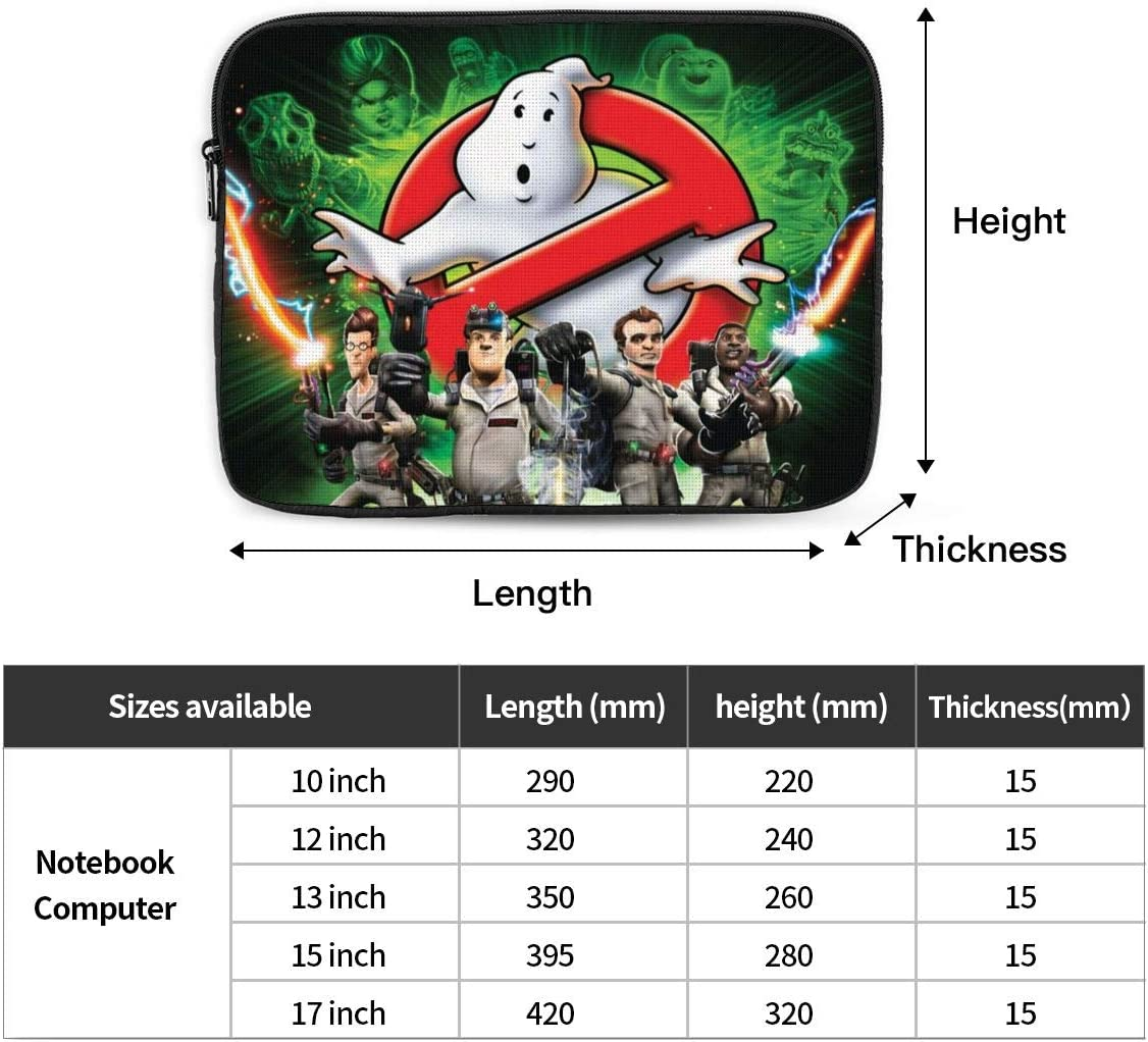 Funny Ghost Busters Laptop Sleeve Case Classic Notebook Computer Bag Slim Tablet Briefcase Business Travel Outdoor Black 15 inch