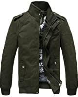 Youhan Men's Casual Fitted Stand Collar Cotton Jacket with Shoulder Straps