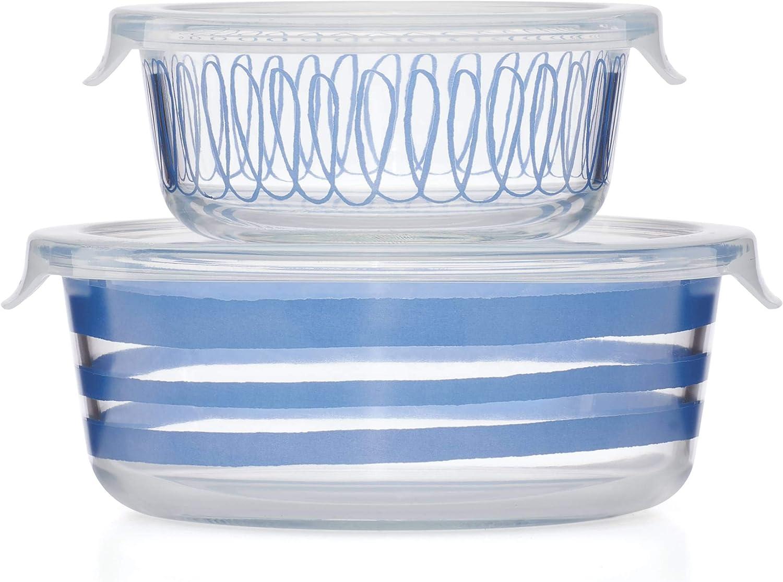 KATE SPADE Charlotte Street 2-piece Storage Bowl Set, 1.85 LB, Blue