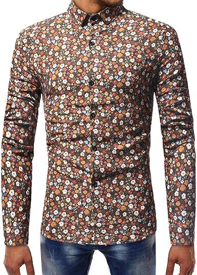 Blusa Estampada de Moda para Hombre Camisas de Manga Larga ...