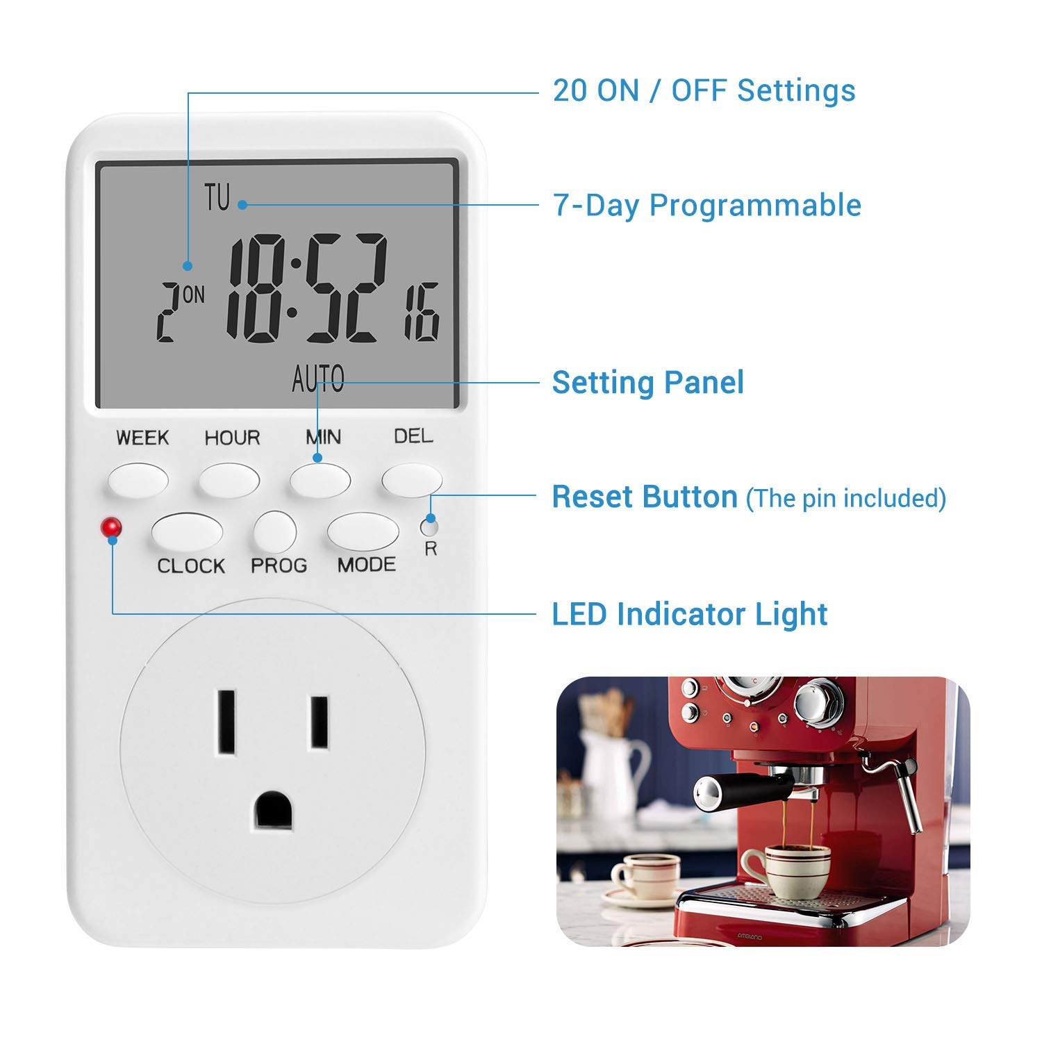 NICREW 24//7 Electrical Digital Timer Programmable Indoor Light Timer Switch with Anti-Theft Random Mode
