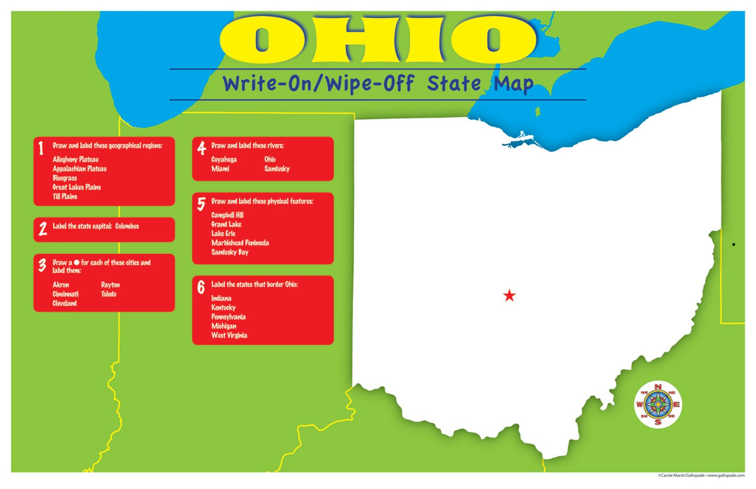 Ohio On State Map.Ohio Write On Wipe Off Desk Mat State Map Ohio Experience Amazon