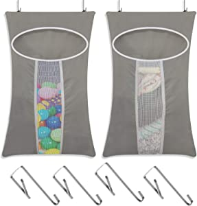 LAMTWEK 2 Pack Door-Hanging Laundry Hamper Bag, Rip-Stop Toy Storage Bag, Foldable & Space Saving Corner Laundry Organiser with 4PCS Stainless Steel Door Hooks, Machine Washable Oxford (Grey)