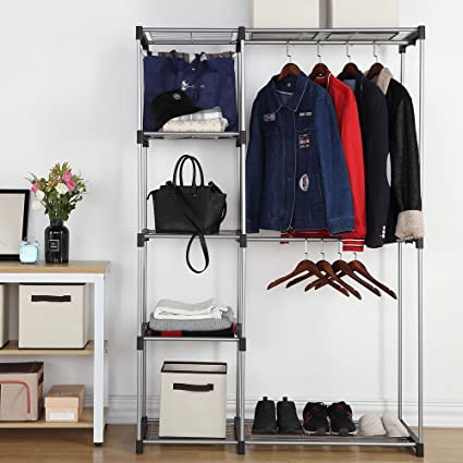 Housen Solutions Freestanding Closet Organizer Double Rod Garment Rack