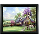 Country Cottage and Horses 3D Dimensional Holographic Lenticular Animated Framed Poster Wall Art Print - Size: 17.5 In. x 13.5 In.