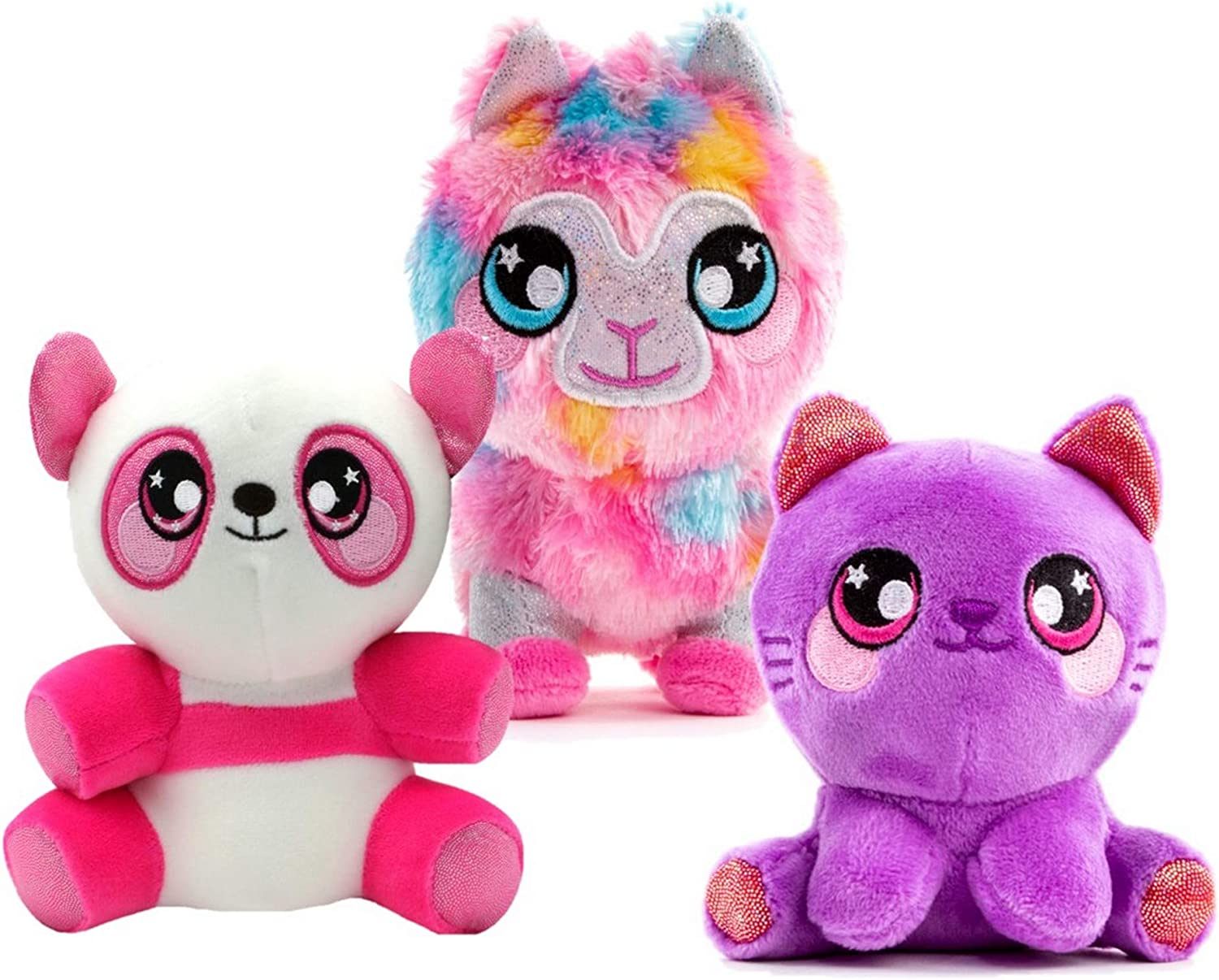 Squeezamals 3Deez, 3 Pack (Kitty Sophia, Panda Samantha, Llama Jenny) Slow-Rise Foam Stuffed Animals
