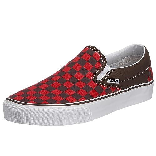 Vans Classic Slip-On - Mocasines unisex, color marrón (espresso/red checkerboard), talla 35: Amazon.es: Zapatos y complementos