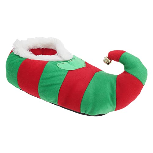 Adults Unisex Striped Elf Design Novelty Christmas Slippers (US 6-7, EUR 38