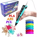 HongsMarket ABS PCL PLA 3D Printing Pen w/ 1.75mm PLA Filament (14-Piece Set) Kids and Adults Drawing, Writing, Creating 3-D Arts and Crafts Projects   LED Display, Adjustable Temperature