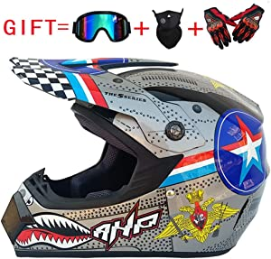 OD-B Motocross Helmet, Motorcycle Cross Off Road Adult Helmet, Enduro Dirt Quad Bike ATV Vented Crash Helmet, DOT Approved for Men/Women