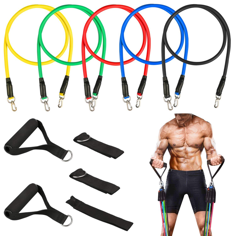 Homga Elastici Fitness, 5pcs Bande di Resistenza Impilabile Elastiche Fitness Set, Banda Fitness Elastica