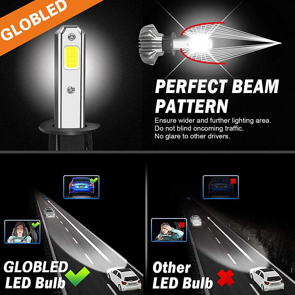 H1 Led Headlight Bulbs 50W 5000Lumens Adjustable Beam LED All-in-all Conversion Kit Waterproof Headlights High Beam Fog Light 6500K Cool White IP68 replacement Pack of 2