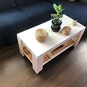 Habitdesign Mesa de Centro con revistero Incorporado, 102x50x43/54 cm (Blanco Artik)