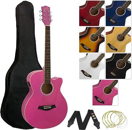 Tiger - Guitarra electroacústica con accesorios, color rosa ...