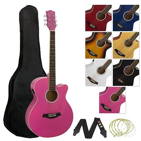 Tiger - Guitarra electroacústica con accesorios, color rosa