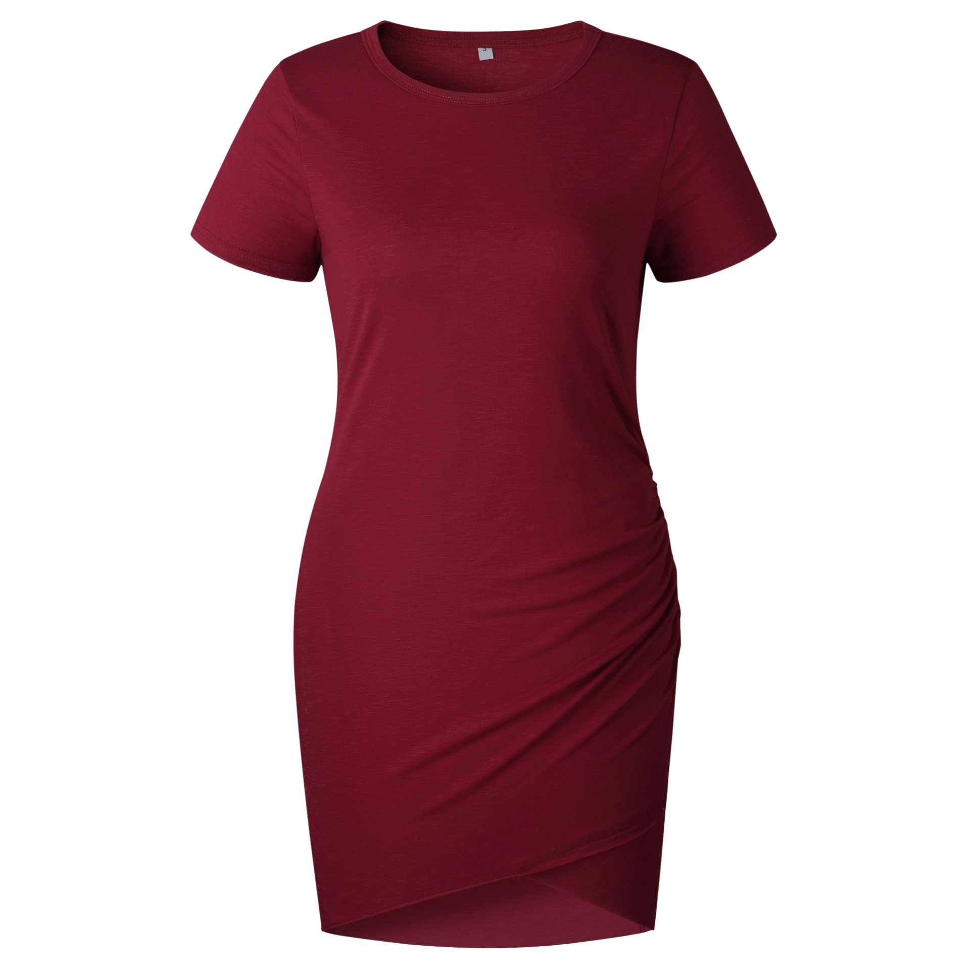 Women\'s Short Sleeve Bodycon Dresses - Sexy Ruched Tulip Hem Sheath Mini Dresses Small Wine Red