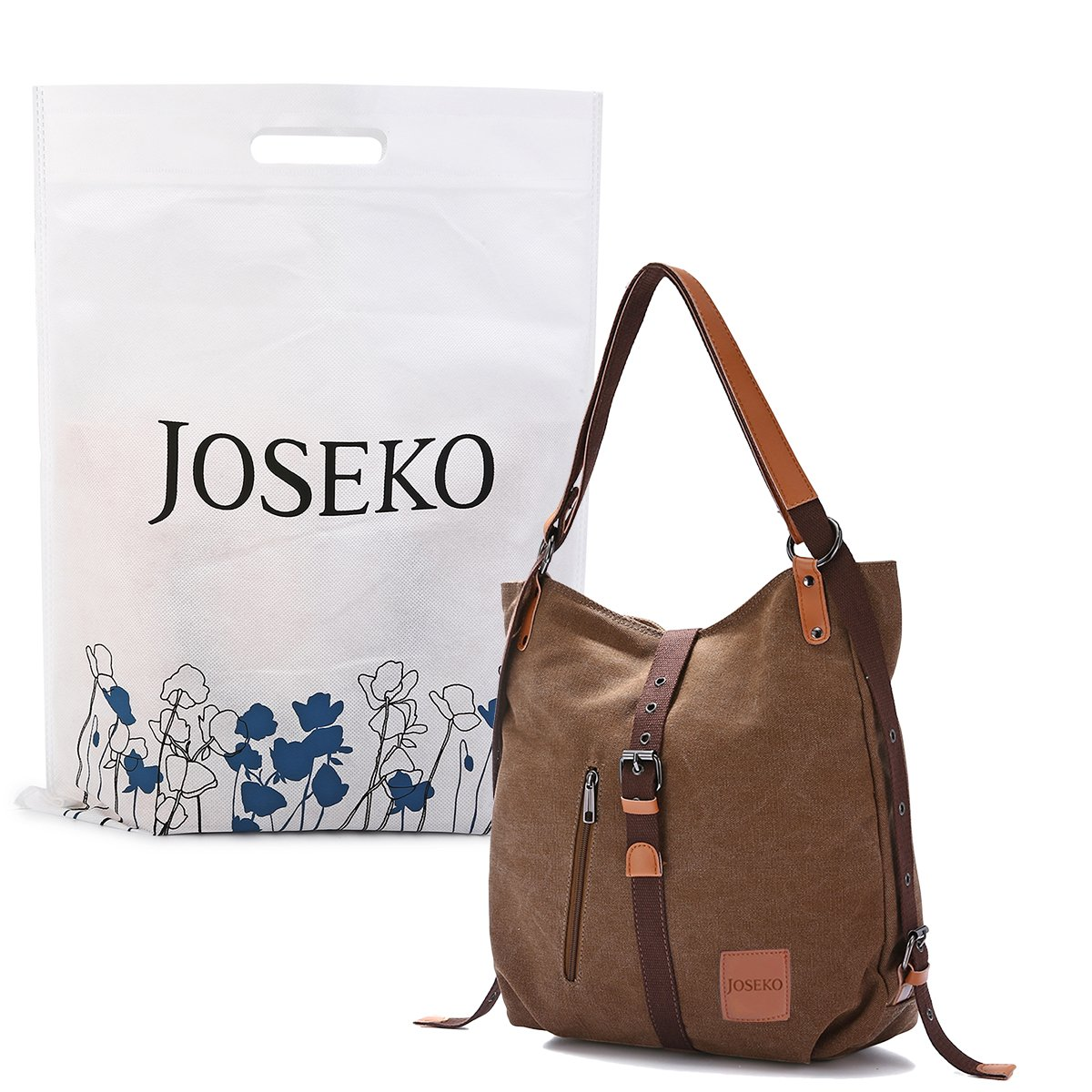 JOSEKO Fashion Shoulder Bag Rucksack, Canvas Multifunctional Casual Handbag Travel Backpack for Women Girls Ladies, Large Capacity Coffee 14.17 inch(L) x 3.94 inch(W) x 14.96 inch(H) by JOSEKO