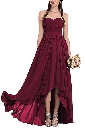 Staypretty High Low Bridesmaid Dresses 2018 Long Chiffon Sweetheart Backless Prom Dress Burgundy Size 2