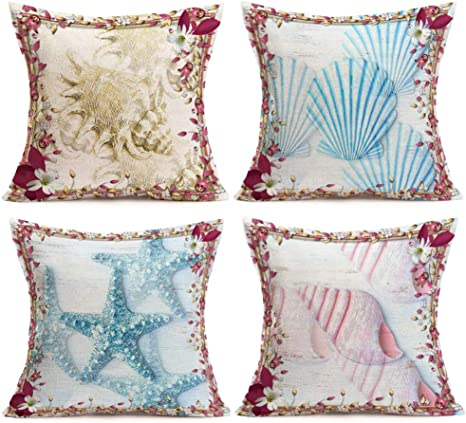 Aremetop Pack Of 4 Ocean Marine Life Throw Pillow Covers Sea Snail Conch Shell Starfish Decorative Coastal Sea Beach Theme Cotton Linen Decorative Cushion Protector 18 X18 Square Pillowcases Home Kitchen
