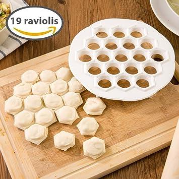 Compra Silley® Cook - Molde para 19 raviolis + libro de recetas, útil para dulces, pastelillos, raviolis chinos (Jiao Ze), minipizas, hojaldres, albóndigas ...