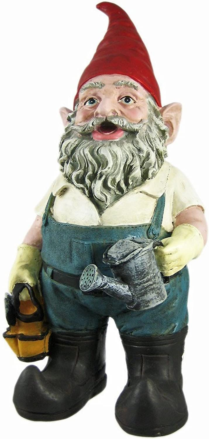 """Nowaday Gnomes - Gardener Gnome Holding a Watering Can and Garden Tool Bag Home & Garden Gnome Statue 14"""" H"""