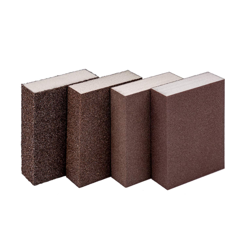 4 Blocks KINBOM 4 Pieces Sanding Sponge Wet and Dry Sanding Block Coarse//Medium//Fine//Superfine 4 Different Sanding Pads