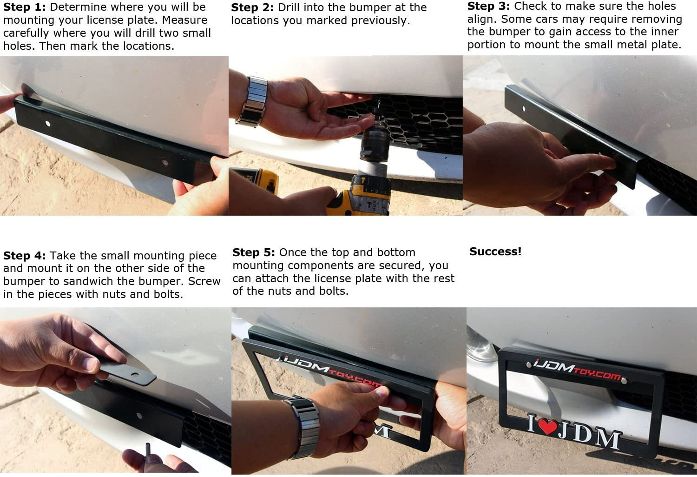 iJDMTOY JDM Black Universal Fit Front Bumper License Plate Relocator Bracket Holder Bar
