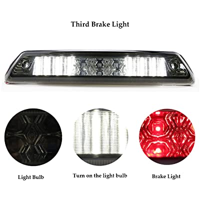 Rear Roof Center LED Third 3rd Brake Cargo Light Assembly High Mount Brake Tail Light Replacement for 2009-2014 Ford F-150 (Chrome Housing Smoke Lens): Automotive