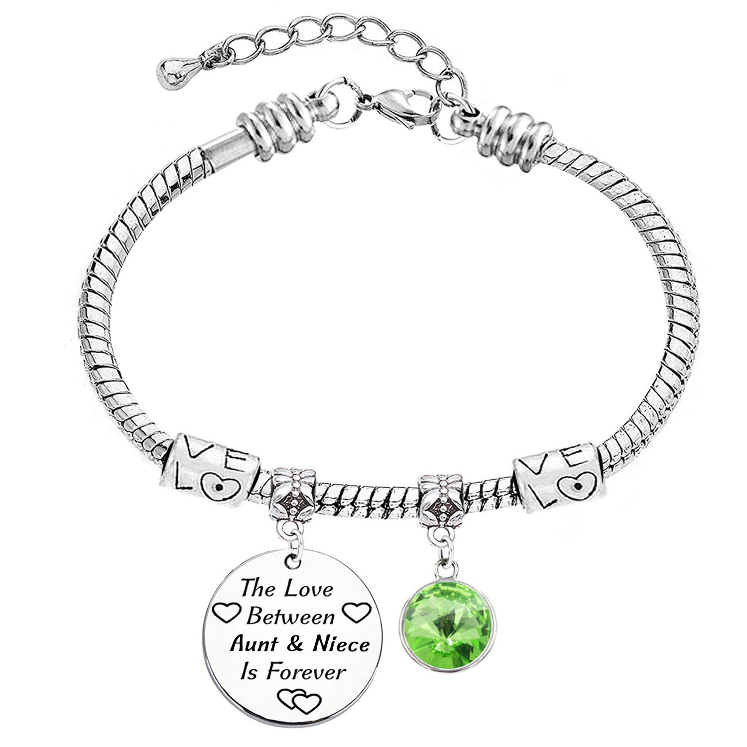 LINKY The Love Between Aunt and Niece is Forever Charm Stainless Steel Snake Chain Bracelet 12 Color Crystal Charm