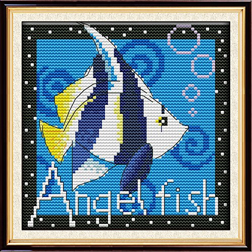 Full Range of Embroidery Starter Kits Stamped Cross Stitch Kits Beginners for DIY Embroidery (Multiple Pattern Designs) - Tropical Fish (Quilt Pattern Fish)
