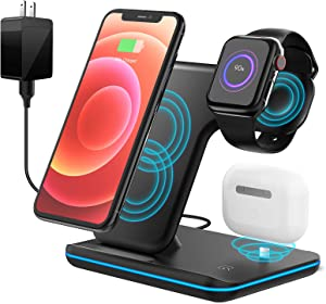 Wireless Charger, Apple Watch Charger 3 in 1 Charging Station, 15W Fast Wireless Charger Stand for iPhone, Airpods, Samsung, Huawei, Xiaomi with QC 3.0 Adapter
