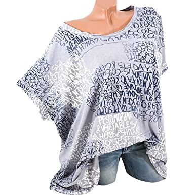 Hgwxx7 Womens Letter Print Plus Size Short Sleeve Cotton Blouse Tops