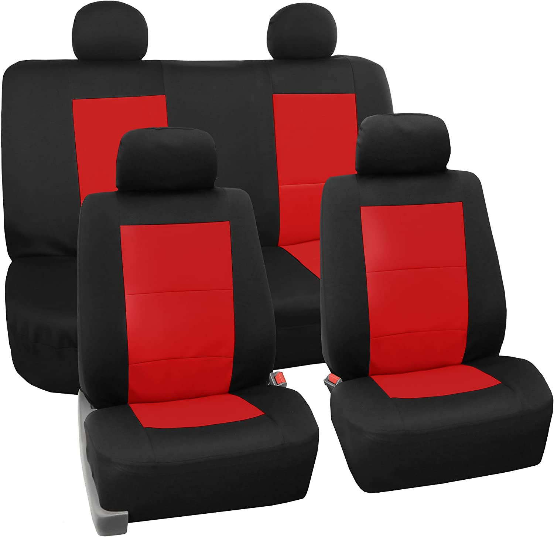 FH Group FH-FB085114 EVA Foam Premium Waterproof Car Seat Covers Red- Fit Most Car, Truck, SUV, or Van