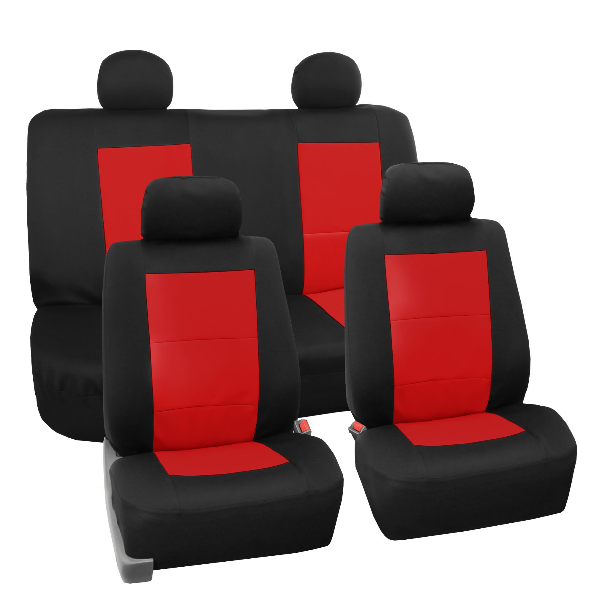 FH Group FB085RED114 Seat Cover Neoprene Blend Waterproof Seat covers Full Set with Bench Red by FH Group