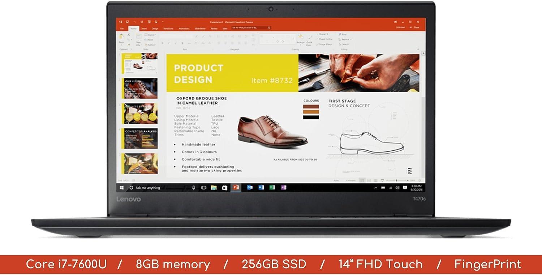 "Lenovo T470s Laptop   14.0"" FHD (1920x1080) MultiTouch IPS Screen with Webcam   8GB DDR4 RAM   256GB SSD   WIFI   Bluetooth   Windows 10 Pro"