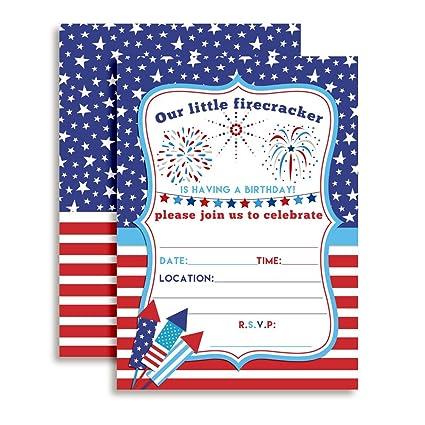 amazon com 4th of july party firecracker birthday invitations ten
