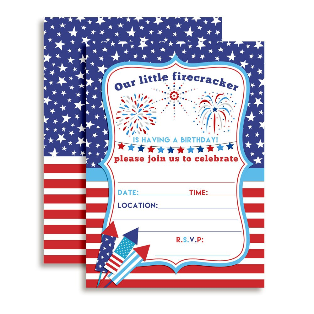 4th of July Party Firecracker Birthday Invitations, 20 5''x7'' Fill in Cards with Twenty White Envelopes by AmandaCreation