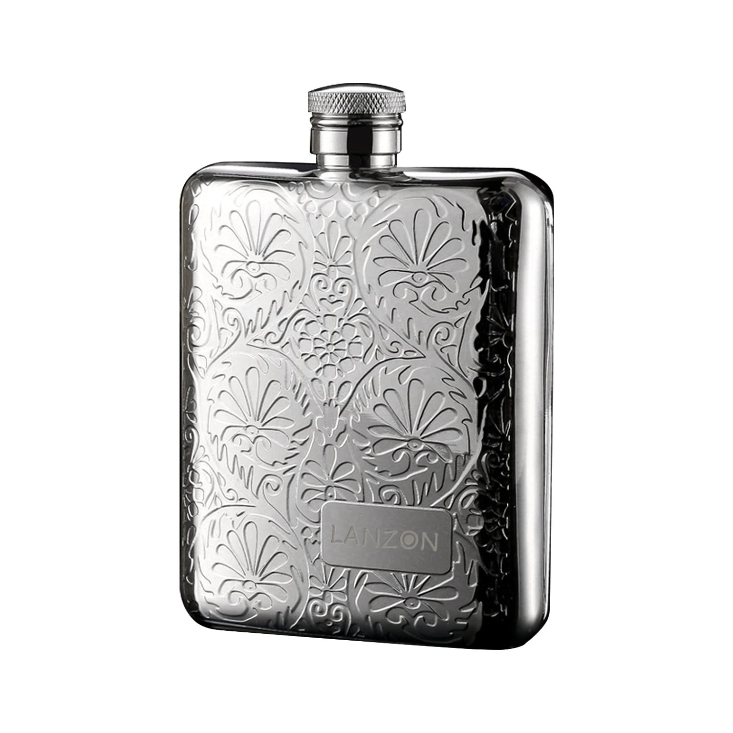 LANZON Hip Flask with Funnel, All 18/8 304 Food Grade Stainless Steel Curved Pocket Flask for Liquor   6 OZ Capacity   Gift Boxed (Flower Pattern)