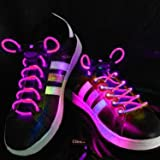 Ultra Pink Coloured LED Bright Light Up Waterproof Flashing Shoelaces for Trainers and Shoes in a Variety of Colours for Parties Running Walking and Events Gifts and Discos UK Stock Fibre Optic Shoe Laces