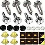 Aootf License Plate Frame Screws Fasteners -Stainless Steel Anti Rust and Caps for Securing License Plates, Frames, Covers on