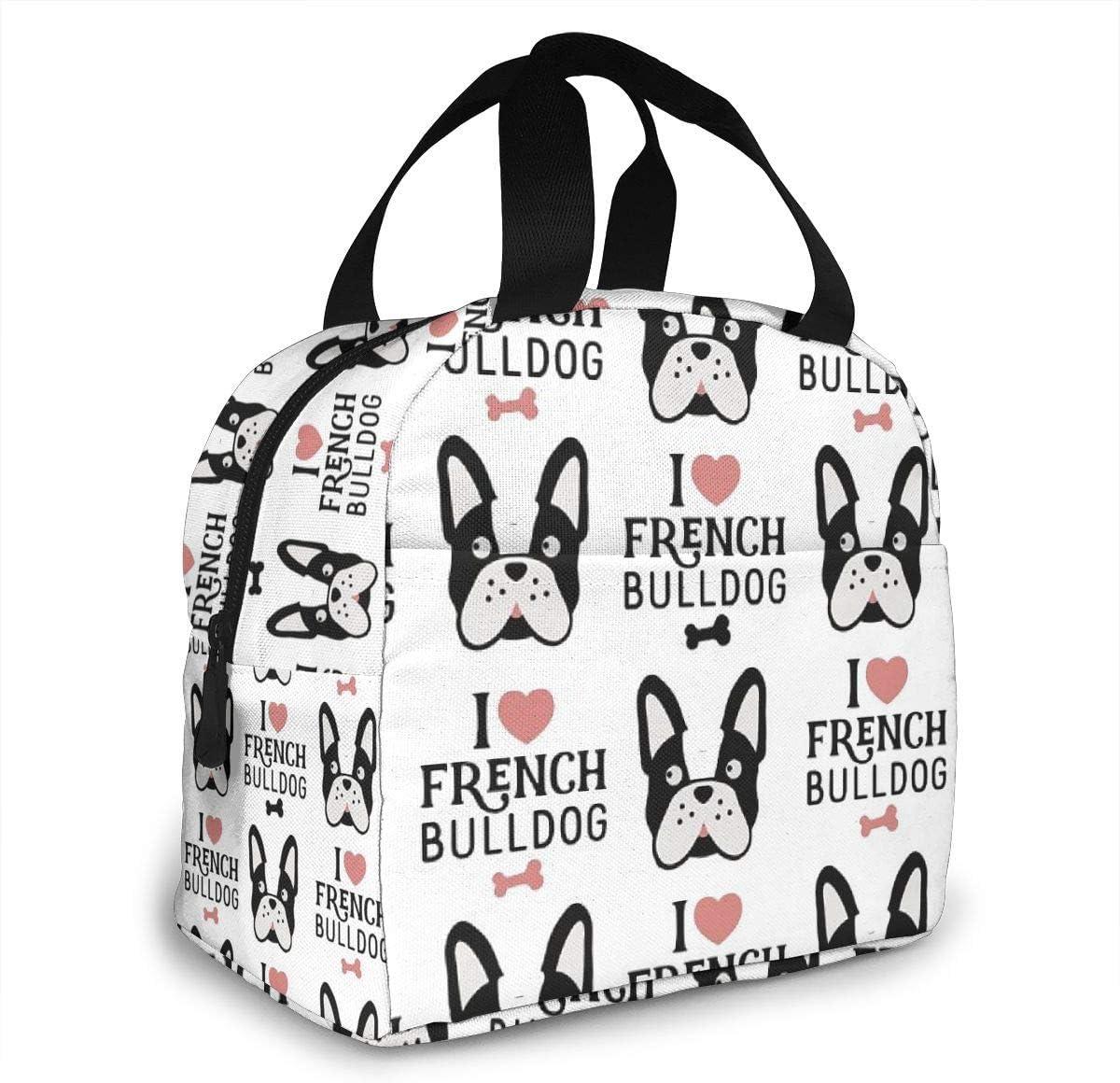 Hungry French Bulldog perro vajilla Utensilios listo para comer aislado de neopreno bolsas de almuerzo para mujeres para el trabajo adultos hombres ni/ños Picnic lonchera moderna bolsa de almuerzo