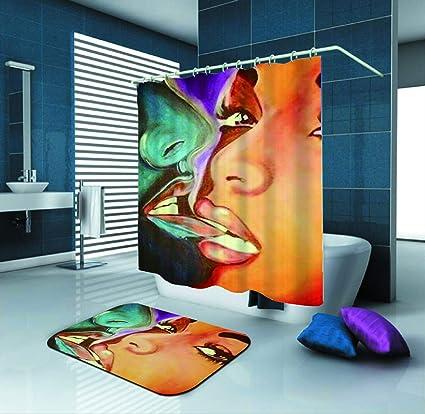 SARA NELL Black Art Women Shower CurtainAfrican American Couple Art72X72In Mildew Resistant