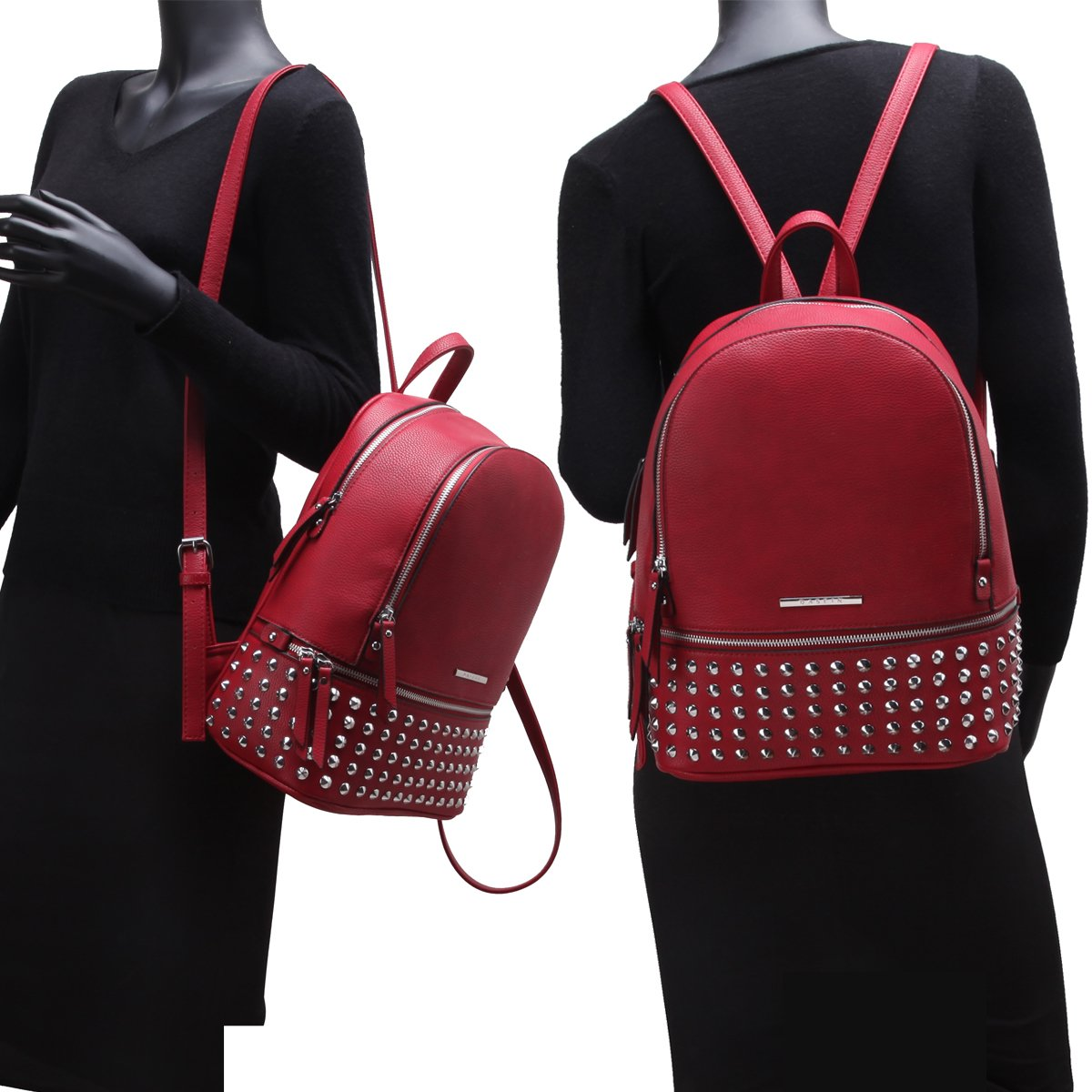 MMK collection Women Fashion Backpack with wallet (2443)~Designer Purse for Women ~Multi Pocket Backpack~ Beautiful Designer Handbag Set(2443/7025) (MA-XL-21-7580-RD 168 RD) by Marco M. Kerry (Image #9)
