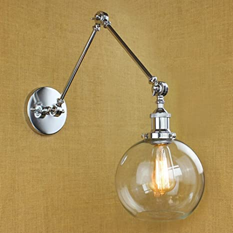 NIUYAO Vintage Industrial 1-light Wall Lighting with Round Clear ...
