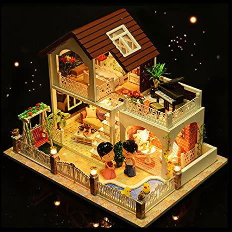 WYD DIY Vacation Luxury Doll House DIY Model Furniture Kits LED Lights  Wooden Doll House Miniature