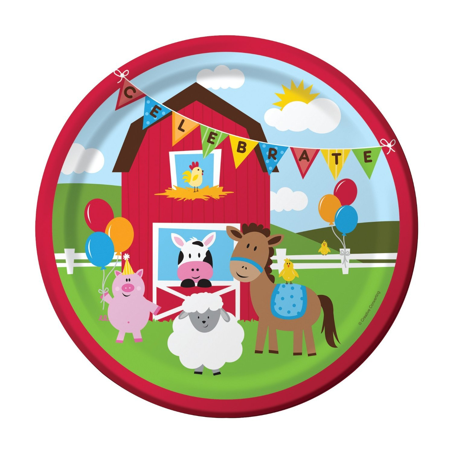 Great Farm Party Tableware set with red barn and animal theme Creative Converting 12469 16 Luncheon Plates Farmhouse Fun Barnyard Animals Birthday Party Supplies Pack for 16 Guests and 16 Luncheon Napkins Straws