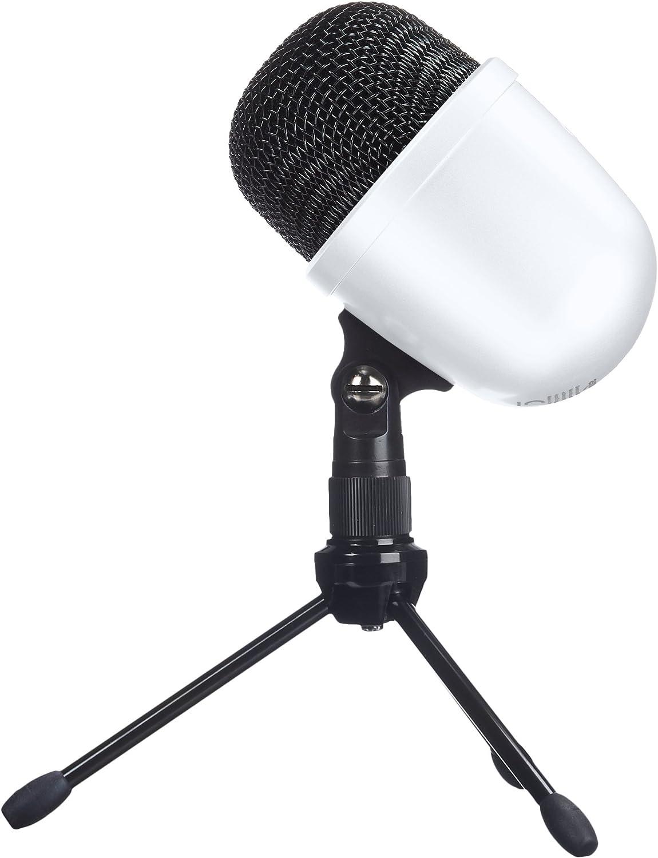 AmazonBasics Desktop Mini Condenser Microphone With Tripod - White