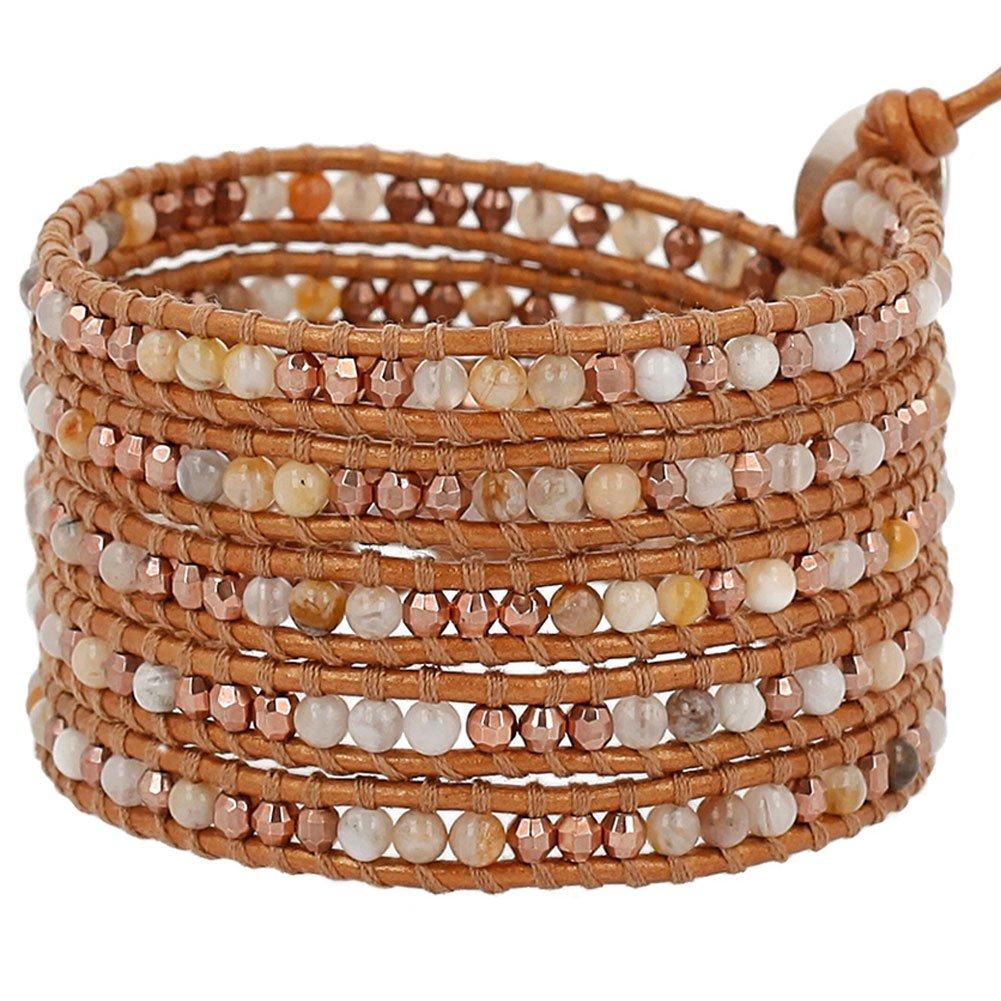 Chan Luu Jasper Bead Wrap Bracelet on Bronze-tone Leather