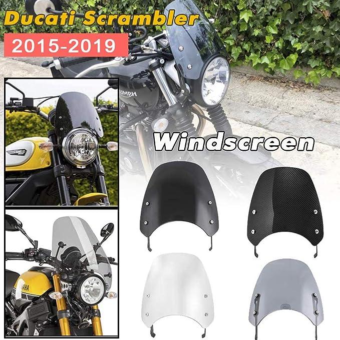 motorcycle Windscreen FFFFF Motorcycle Windshields Wind Motorcycle Touring Front Flyscreen Windscreen Windshield Shield Screen Fit For Ducati Scrambler 2015-2019 Light Smoke