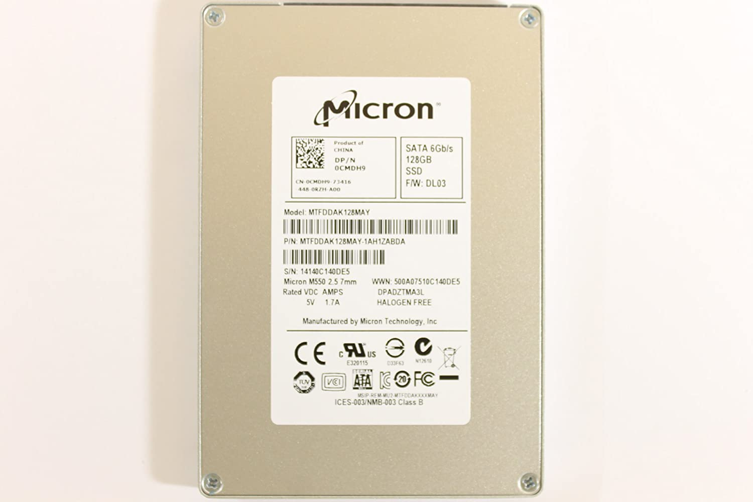"Dell CMDH9 MTFDDAK128MAY 2.5"" SATA SSD 128GB Micron Laptop Hard Drive Inspiron 5439 Vostro 5439 5470"